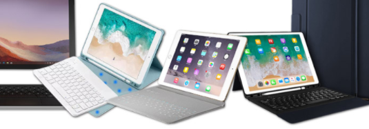 "Including ""4 keyboard cases for iPads"""